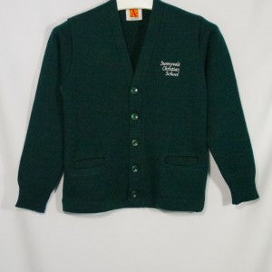 SUNNYVALE CHRISTIAN CLASSIC V-NECK CARDIGAN WITH EMBROIDERED LOGO