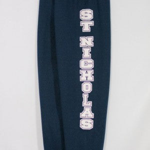 ST. NICHOLAS NAVY BANDED BOTTOM HEAVYWEIGHT SWEATPANT WITH SILKSCREENED LOGO
