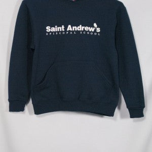 ST. ANDREW NAVY HEAVYWEIGHT HOODIE WITH SILKSCREENED LOGO