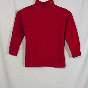 BOYS RED JERSEY KNIT TURTLENECK WITH EMBROIDERED LOGO