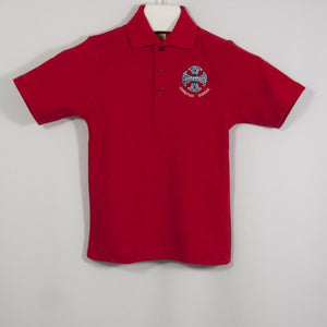BOYS RED SHORT SLEEVE PIQUE KNIT POLO SHIRT WITH EMBROIDERED LOGO