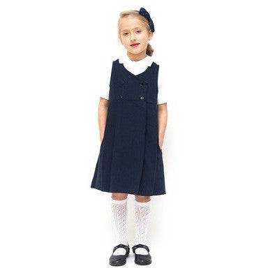 Double Breasted Organic Pure Cotton School Pinafore, Navy