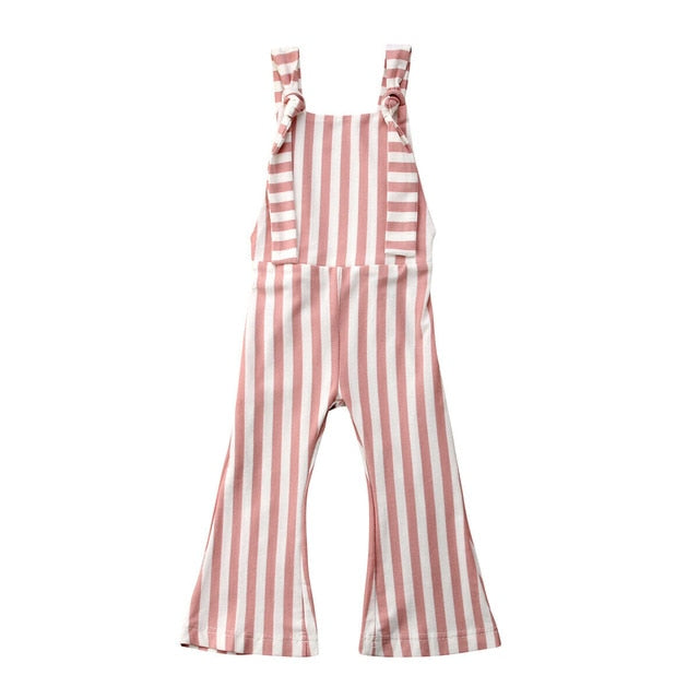 Bell Bottom Striped Jumpsuits - Blush