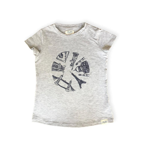 Around the World Tee Grey