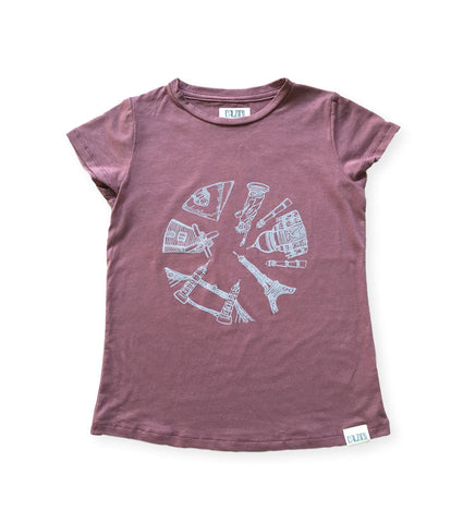 Around the World Tee Rose Brown