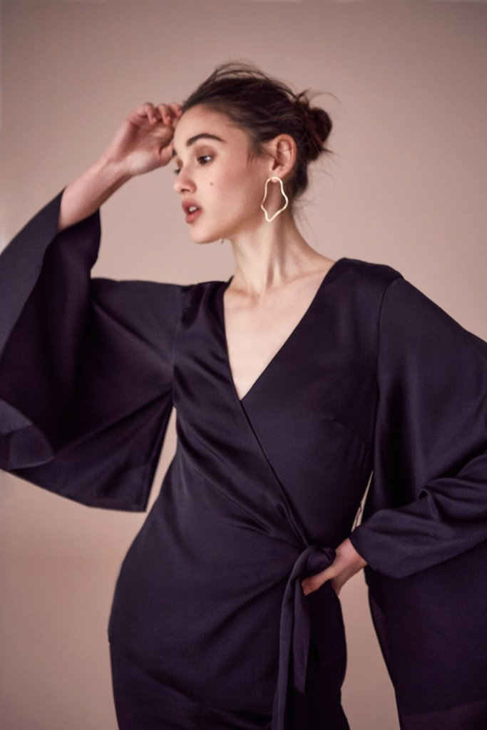 Keepsake Romance Wrap Top Black - Room 29