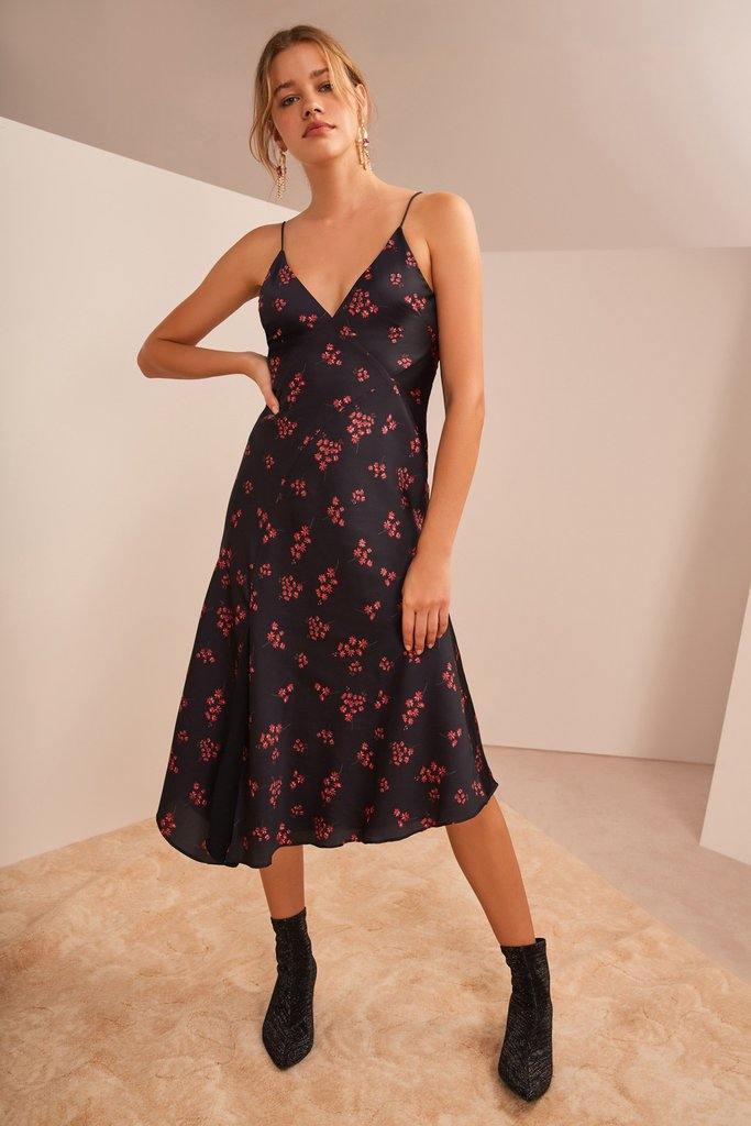 Keepsake Infinity Midi Dress Black w/ Pomegranate Ditsy - Room 29
