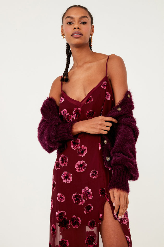 For Love & Lemons Sophie Velvet Floral Maxi Dress Pansy - Room 29