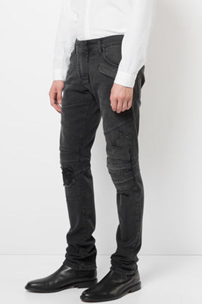 Pierre Balmain Faded Black Distressed Biker Jeans - Room 29