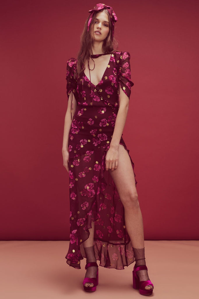 For Love & Lemons Stella Maxi Dress Lurex Pansy - Room 29