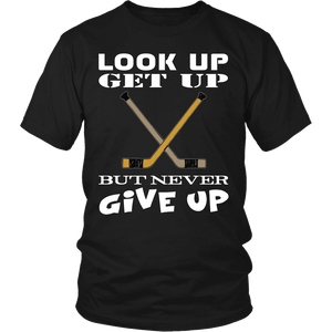 Hockey Shirt - Never Give Up-T-shirt-Spyder Deals