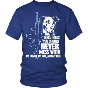Pitbull Shirt | Unisex - Three Things You Should Never Mess With-T-shirt-Spyder Deals
