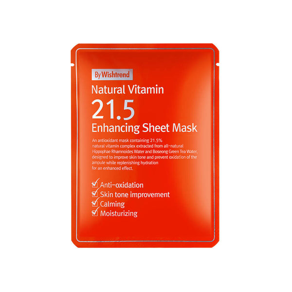 Nudie Glow By Wishtrend Natural Vitamin C21.5 Enhancing Sheet Mask Korean Beauty Skincare Australia mask