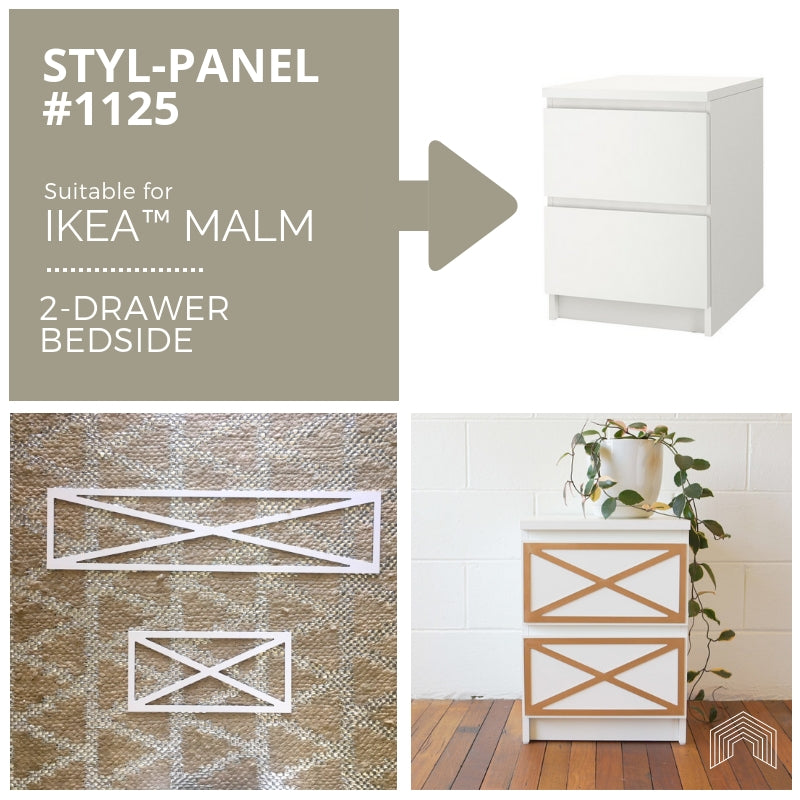 Styl-Panel Kit: #1125 to suit IKEA Malm 2-drawer bedside table