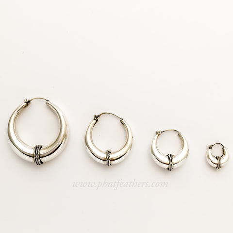 Silver Band Hoops
