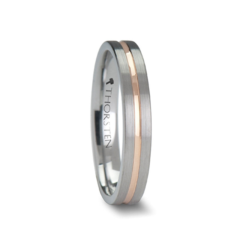 FRANKLIN | Tungsten Wedding Band | Rose Gold Channel | 4mm, 6mm, 8mm & 10mm - TCRings.com
