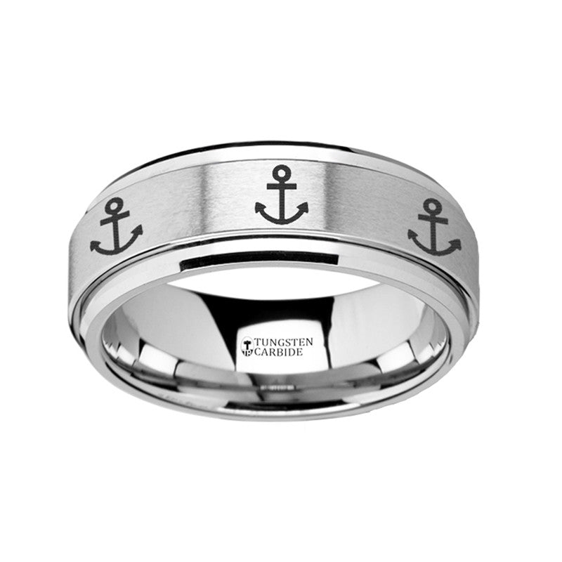 MAYFLOWER | Spinner Ring | Tungsten | Anchor Engraving | 8mm - TCRings.com