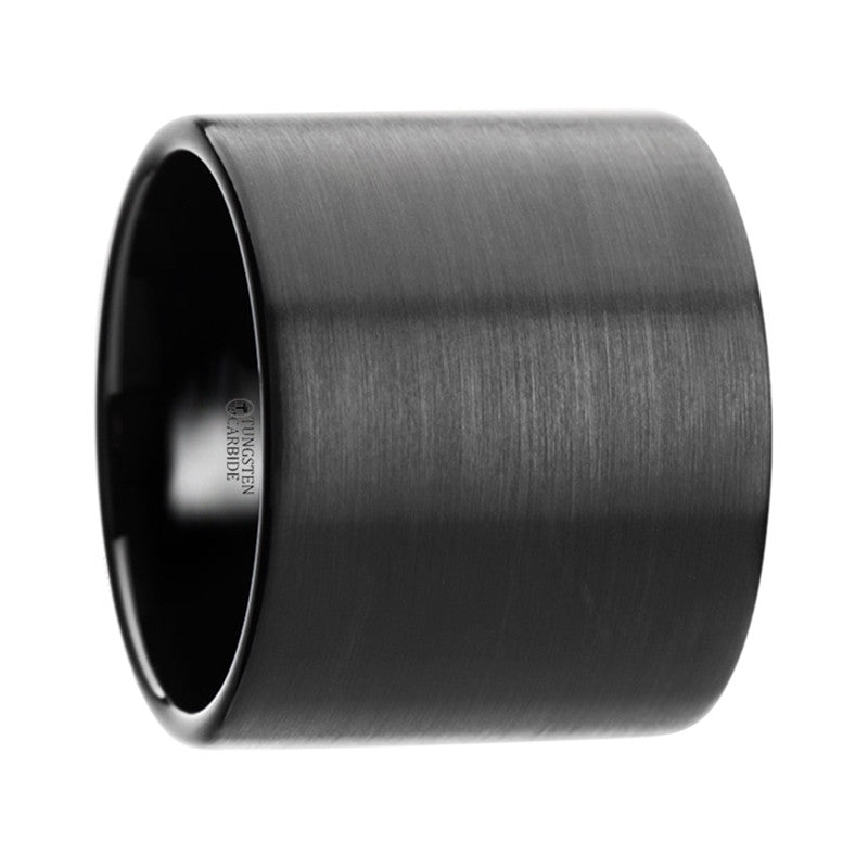 PANTHER | Men's Black Tungsten Ring | Extra Wide | Brushed | 20mm - TCRings.com