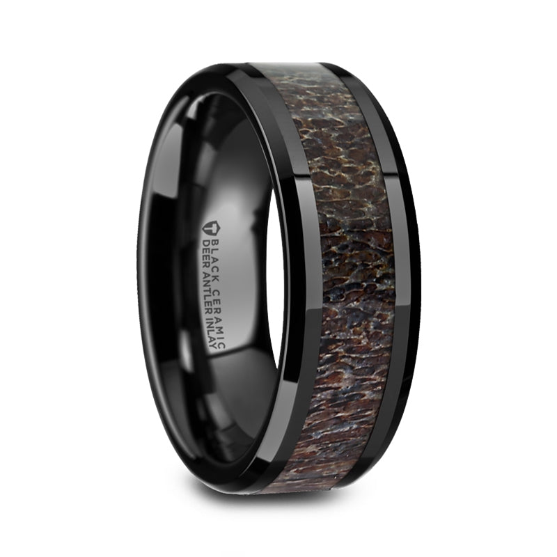 ROG | Black Ceramic Ring | Deer Antler Inlay | Men's | 8mm - TCRings.com