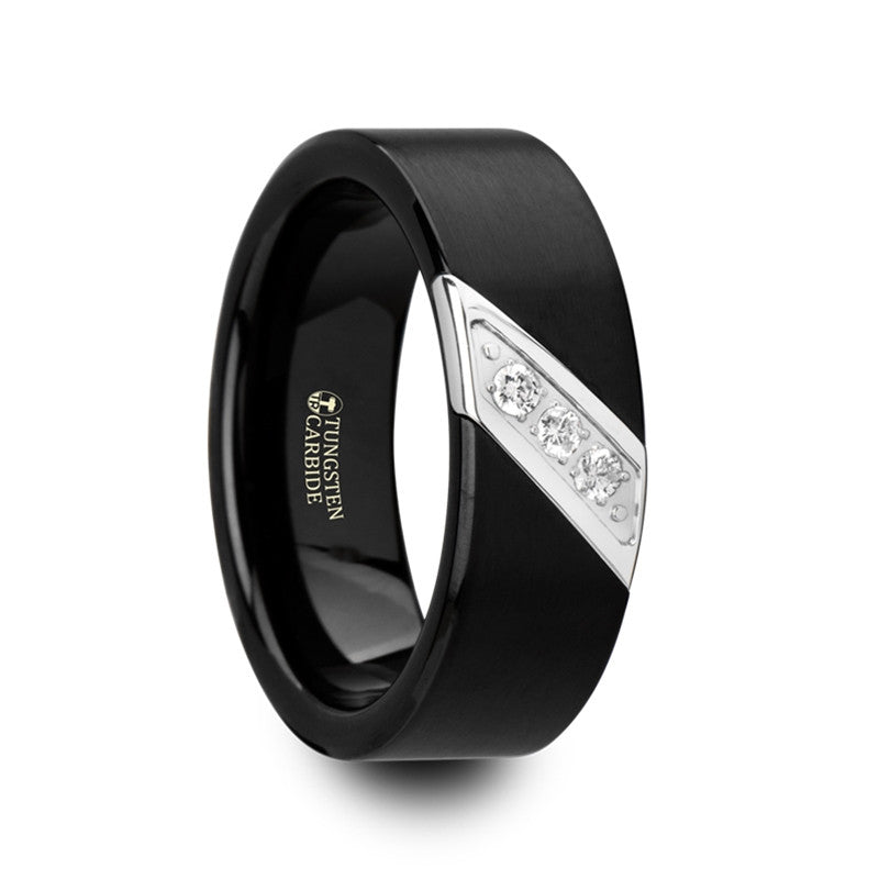 Men's Black Tungsten Wedding Ring with Diamonds
