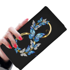 Hand Crafted Premium Black Butterfly Infinity Wallet - Freedom Look