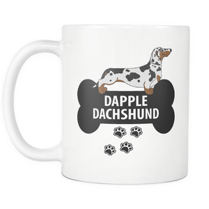 Dapple Dachshund Mug - Dapple Dachshund Ornament - Wiener Dog Dad Mom Mug With Bone And Paws - Great Gift For Daschund Owner - Freedom Look