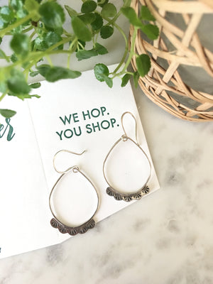 Sarah DeAngelo Jewelry-Stamped Scalloped Teardrop Hoop Earrings