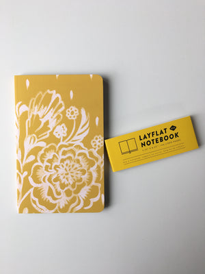 Denik-Mustard Floral Lined Journal