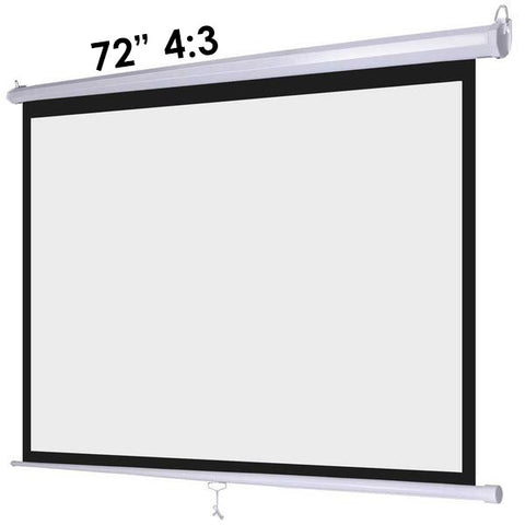 "Image of 72"" 4:3 Manual Pull Down Wall Mount Projector Screen"