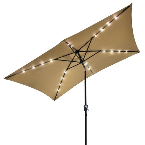 Image of 10'x6.5' Rectangular Patio Umbrella with Lights