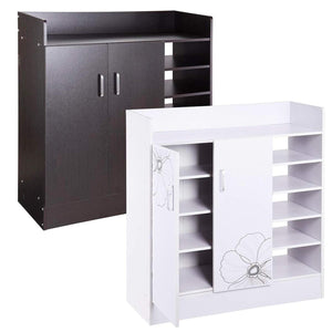 18 Pairs Double Door Shoes Cabinet Organizer (Black Walnut)(White)
