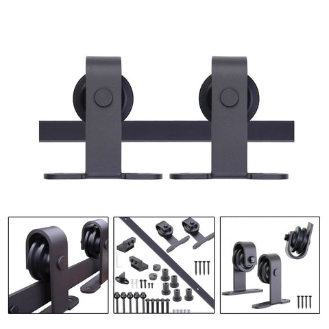 Image of Sliding Barn Wood Door Hardware Track Set