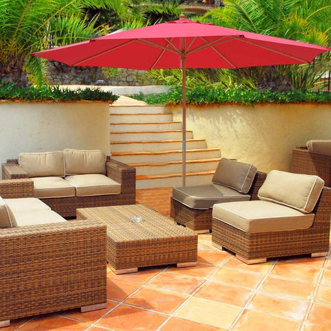 13' Patio Umbrella w/German Beech Wood Pole