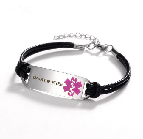 Dairy ❤ Free Medical Leather Bracelet