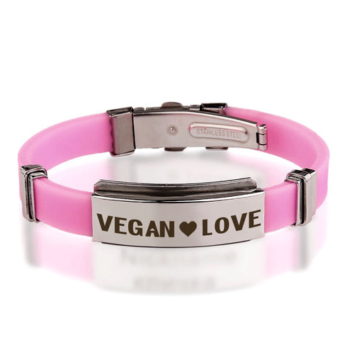 Official VEGAN ❤ LOVE Pink Stainless Steel Bracelets