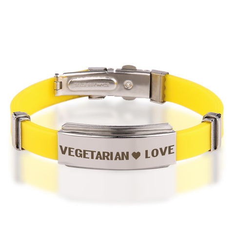 Official VEGETARIAN ❤ LOVE Stainless Steel Bracelets