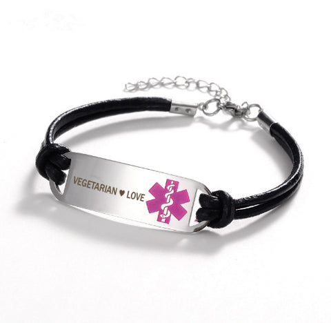 Vegetarian ❤ Love Medical Leather Bracelet