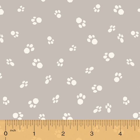 Catnip Grey Cat Paws  Fabric - StoryQuilts.com