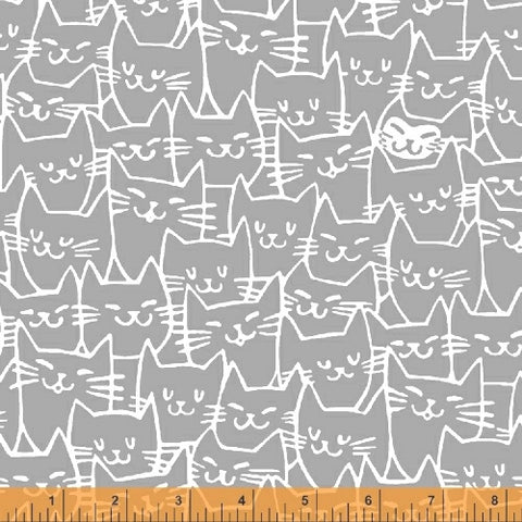Cat Happy - Cat Faces - Grey  Fabric - StoryQuilts.com