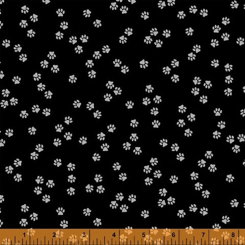 Cat Happy - Paws- Black  Fabric - StoryQuilts.com