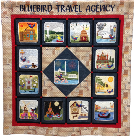 Bluebird Travel Agency - Complete Set  Pattern - StoryQuilts.com