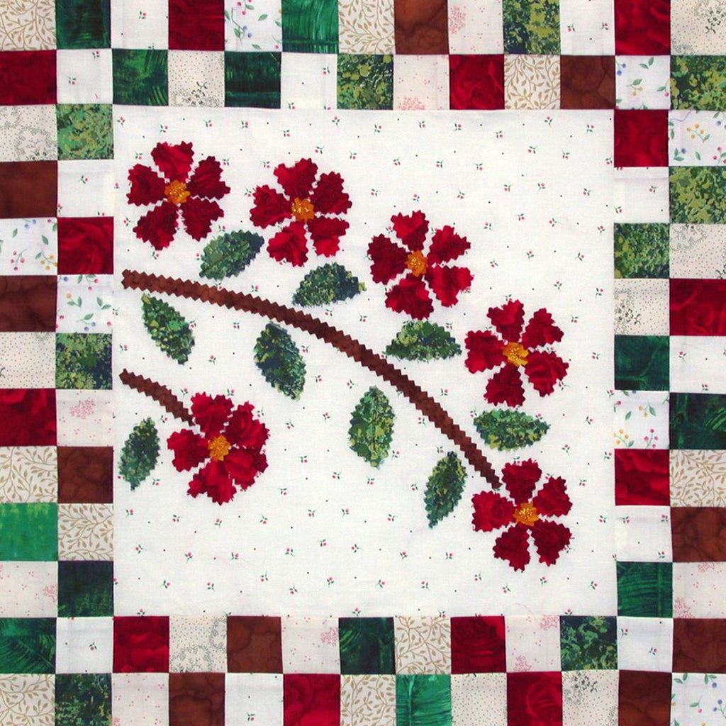 Rose Spray - Checkerboard Flowers  Pattern - StoryQuilts.com