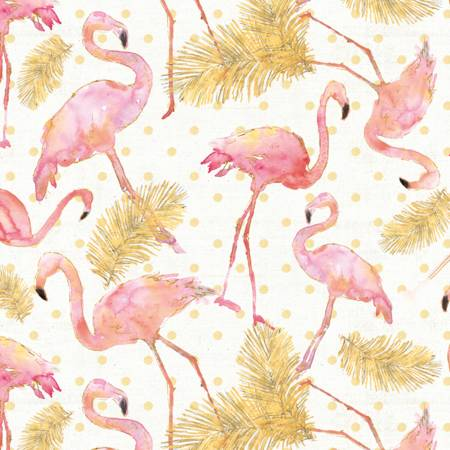 Pink/Gold Flamingo Paradise  Fabric - StoryQuilts.com