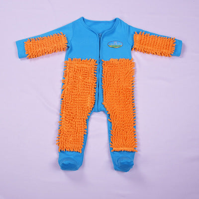 Baby Long Sleeve Crawling Mop Jumpsuit Romper One Piece Blue+Orange 90cm Climbing Clothes Floor Cleaning Rompers  - Gracie's  Design