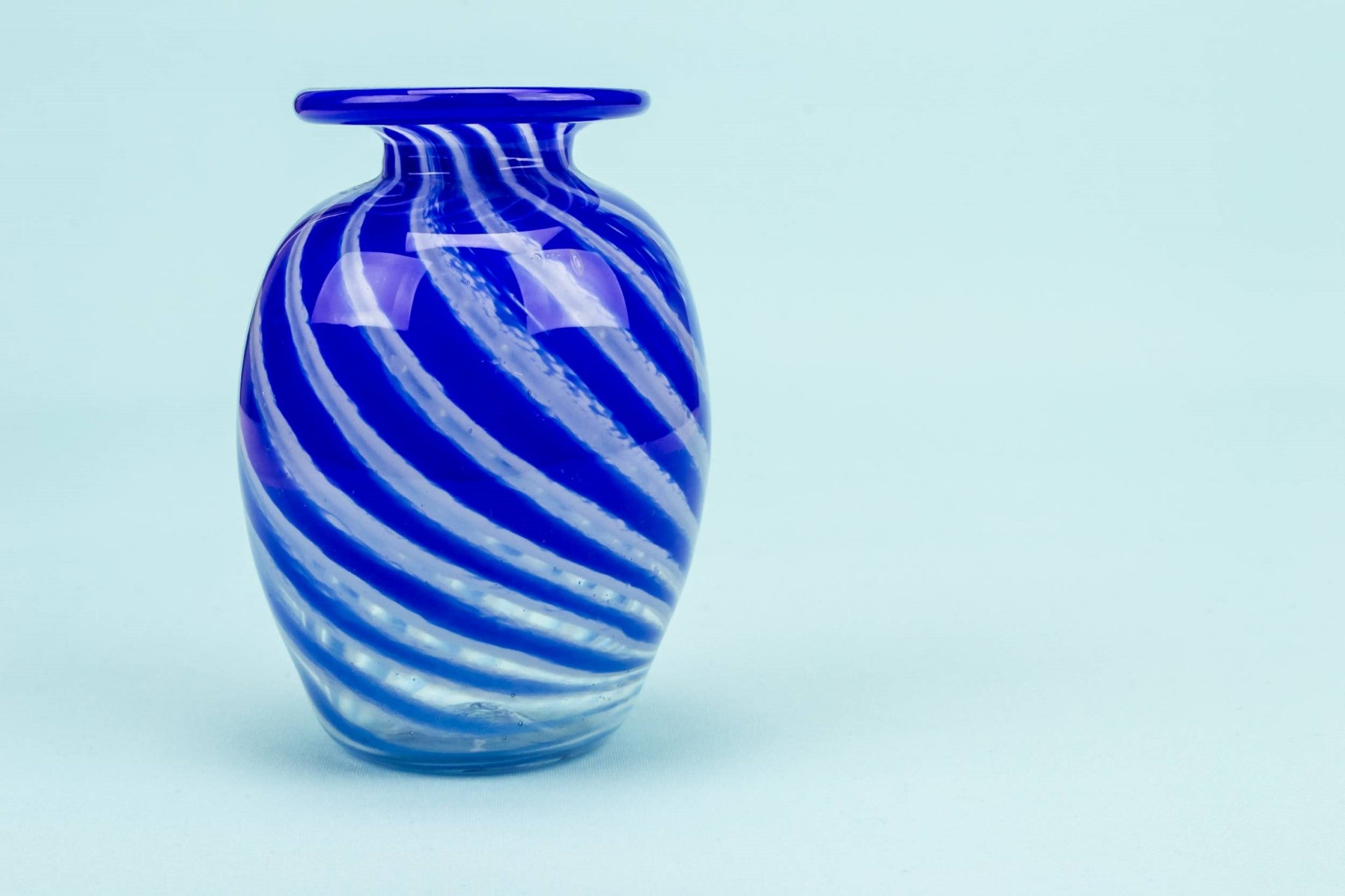 Small blue streak vase