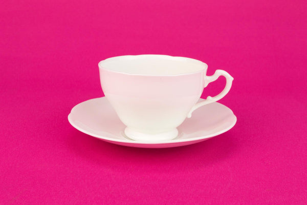White Bone China Teacup and Saucer, English 1930s