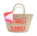 Rose in April Pompon straw basket - My Sweet Summer