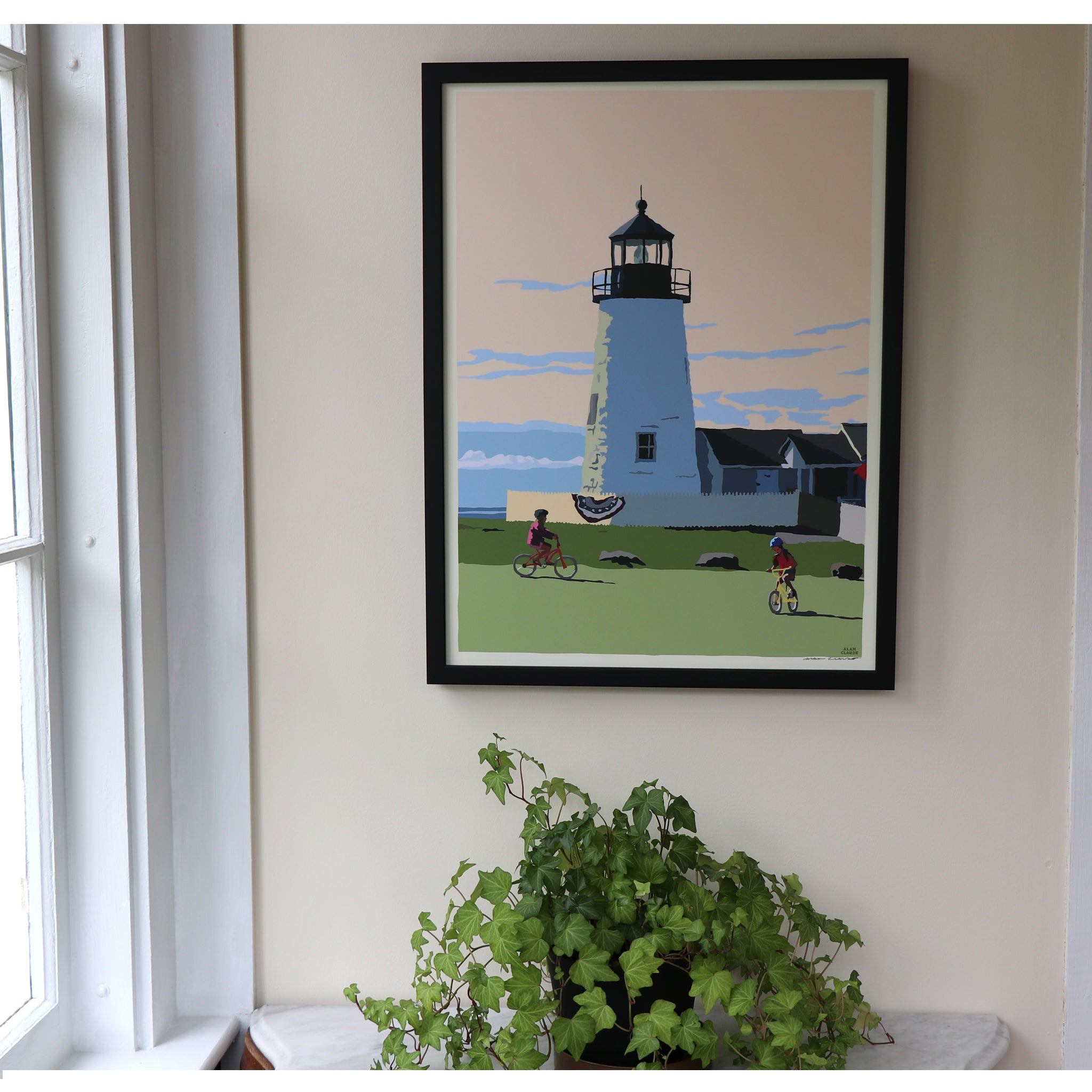 "Pemaquid Bicycle Girls Art Framed Print 18"" x 24"" Poster - Maine"
