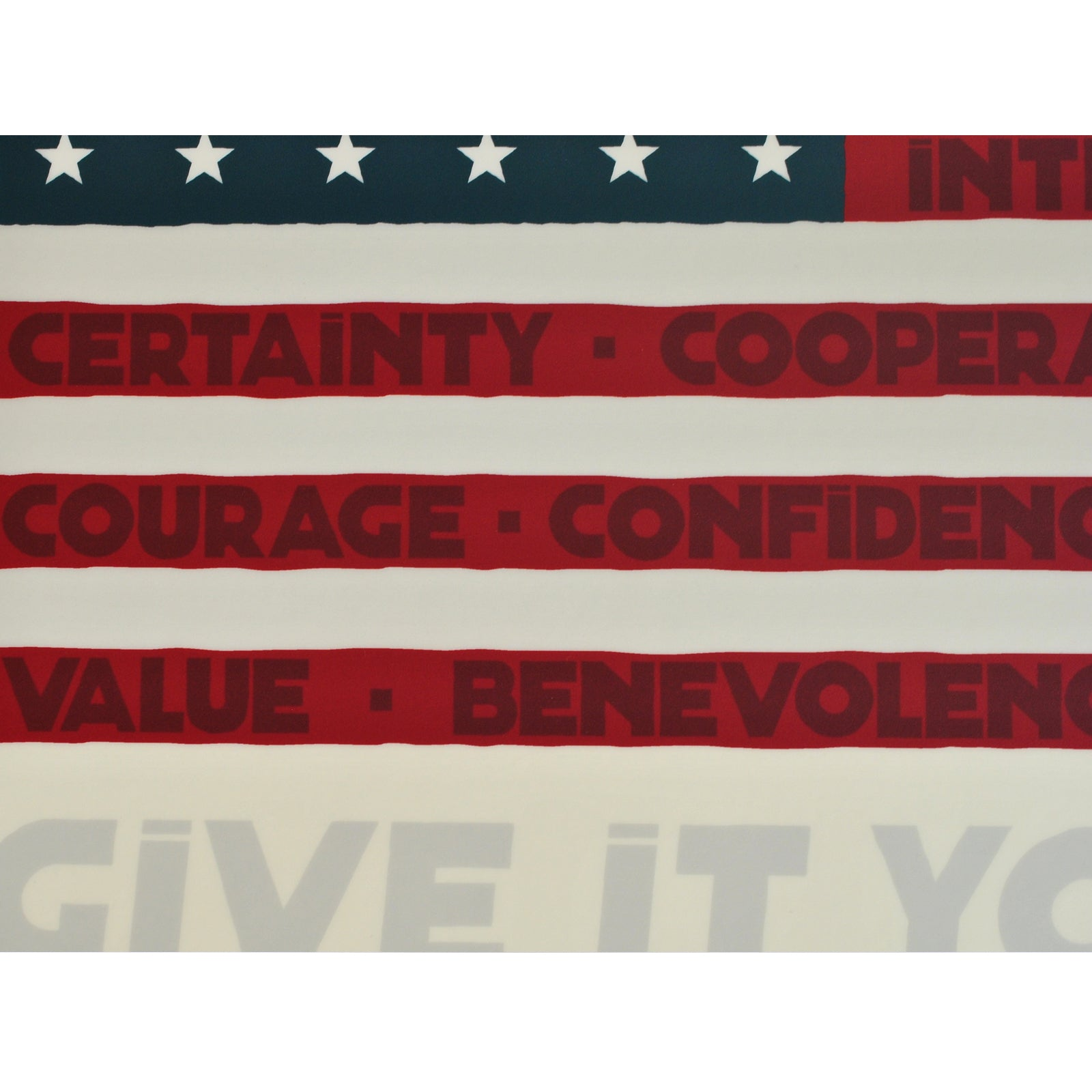 "GIVE IT BEST! USA Flag Art Print 18"" x 24"" Framed"