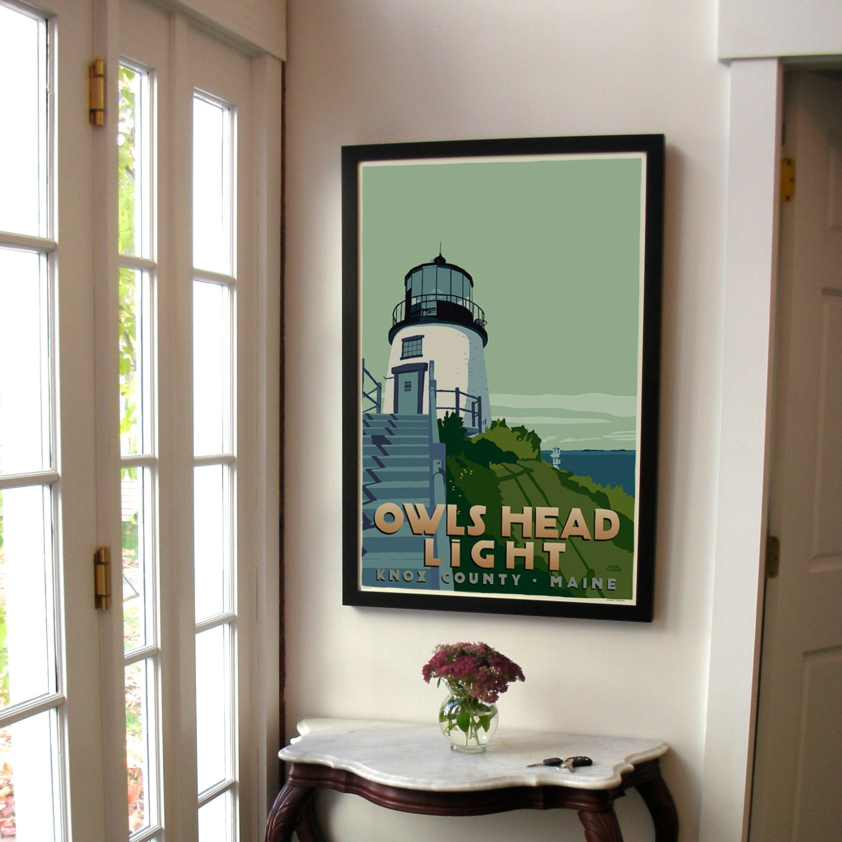 "Owls Head Light Art Print 24"" x 36"" Framed Travel Poster - Maine"